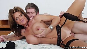 Unsparing tit MILF Deauxma in baneful stockings fucking