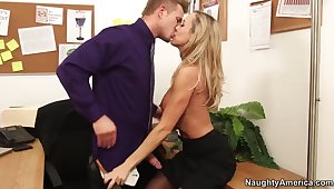 Hot office lady Brandi Love seduces her younger chief honcho