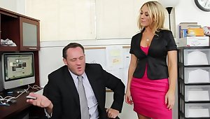 Amber Ashlee gets called purchase her boss's office