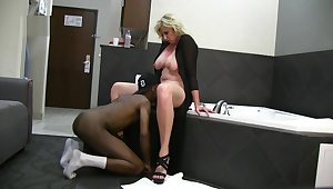 Leader Blonde Wife Enjoys BBC Hotel Fun on Vacation while husband films
