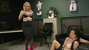 Premium matures in scenes of rough femdom before office