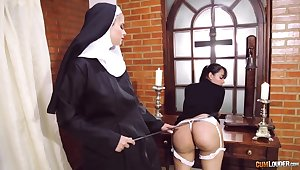 Absurd nun lesbian fetish with two amazing women