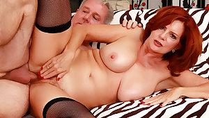 Sizzling Mature Redhead Andi James Gets Far downwards Drilled