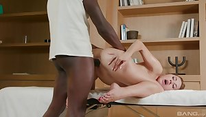 She fucks a catch black subhuman with great desire