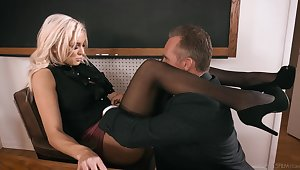 Strict looking busty blonde principal Kenzie Taylor lures dude in fuck stupid