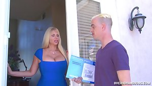 Chubby tits blonde Karen Fisher loves to please a younger guy
