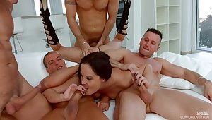 Stunning Dolly Diore takes on a stable of well-hung lovers