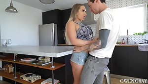 Stunning housewife Cali Haulier is fucked apart from tattooed guy horny Owen Gray
