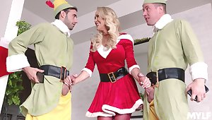 Weirdo threesome with two guys with the addition of Ms. Claus aka Brandi Love