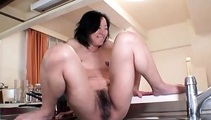 Hardcore squirt by an oiled and tied up Japanese chick