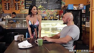Busty barista is in for a naughty skit with the expansive client